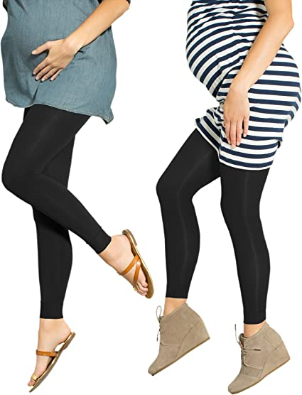 2 Pack Preggers 10-15mmhg Footless Maternity Compression Leggings, Black / Black, Small
