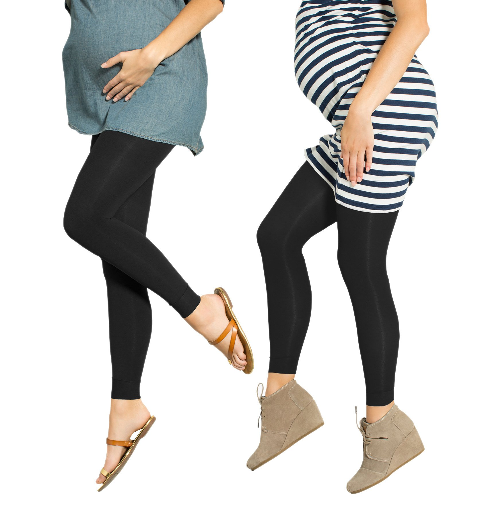 Preggers 2 Pack 10-15mmhg Footless Maternity Compression Leggings (Black, SM)