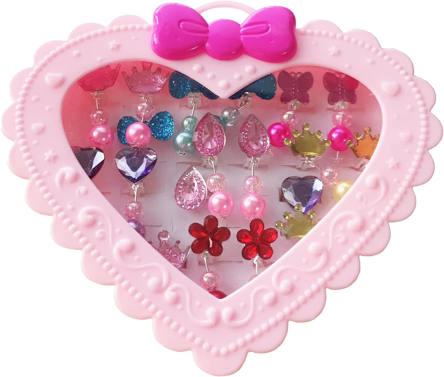 Elesa Miracle 28pcs Children Kids Little Girl Shiny Clip-on Earrings and Adjustable Jewelry Rings in Box, Girl Pretend Play Earrings and Dress up Rings