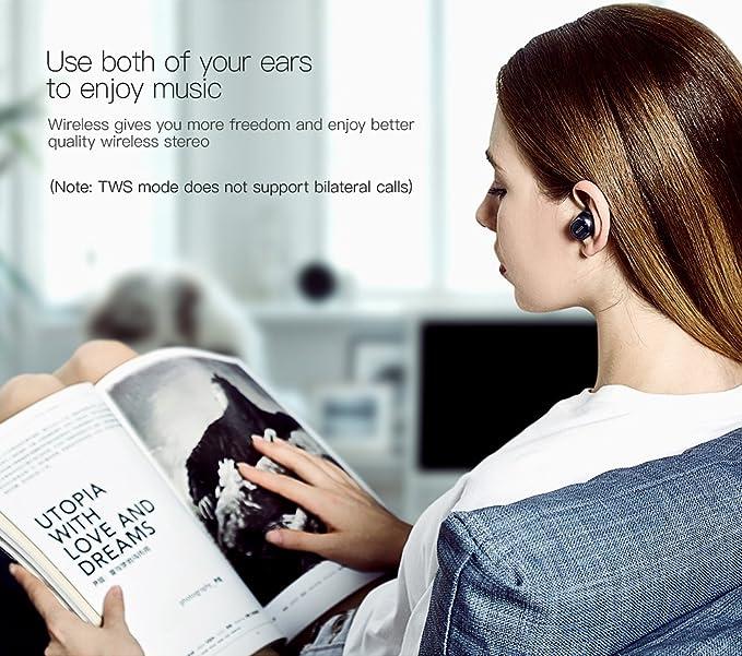 QCY Q29 inalámbrica Bluetooth auriculares estéreo auriculares AUTO conectados auriculares con micrófono y caja de almacenamiento portátil: Amazon.es: ...