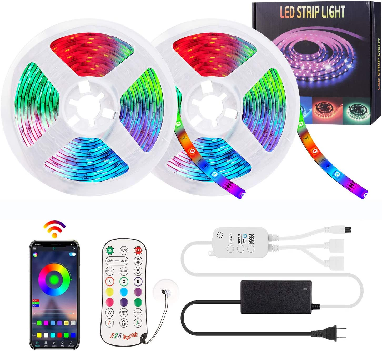 Led Strip Lights for Bedroom 32.8ft,Change Colors by Bluetooth Sync Music or MIC,5050 RGB LED Lights Strip Wall Decorations for Living Room with APP Control,IR Remote Controller,US Power Adapter¡