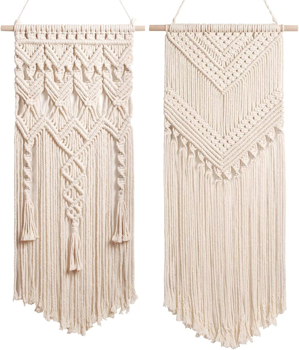 2 Pcs Macrame Woven Tapestry Wall Hanging, Boho Chic Bohemian Home Geometric Wall Art Decor – for Home Decor, Dorm room, Apartment, Nursery, Gallery, Party Decorations, 28 L x 13 W 29 L x13 W