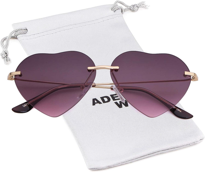 ADEWU Damen Sonnenbrille Herzform Randlos Farbverl/äufen Linse Metall Rahmen Retro Elegante Brille Heart Sunglasses