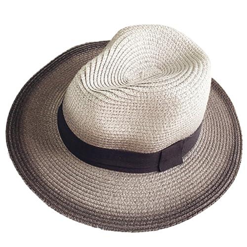 Leisial Sombrero de Playa con Paja Sombrero al Aire Libre del Sol de Gorro Protección Solar Degradad...