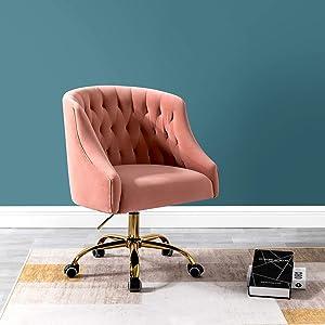 Velvet Fabric Task Chair for Home Office and Vanity for Women- Pink