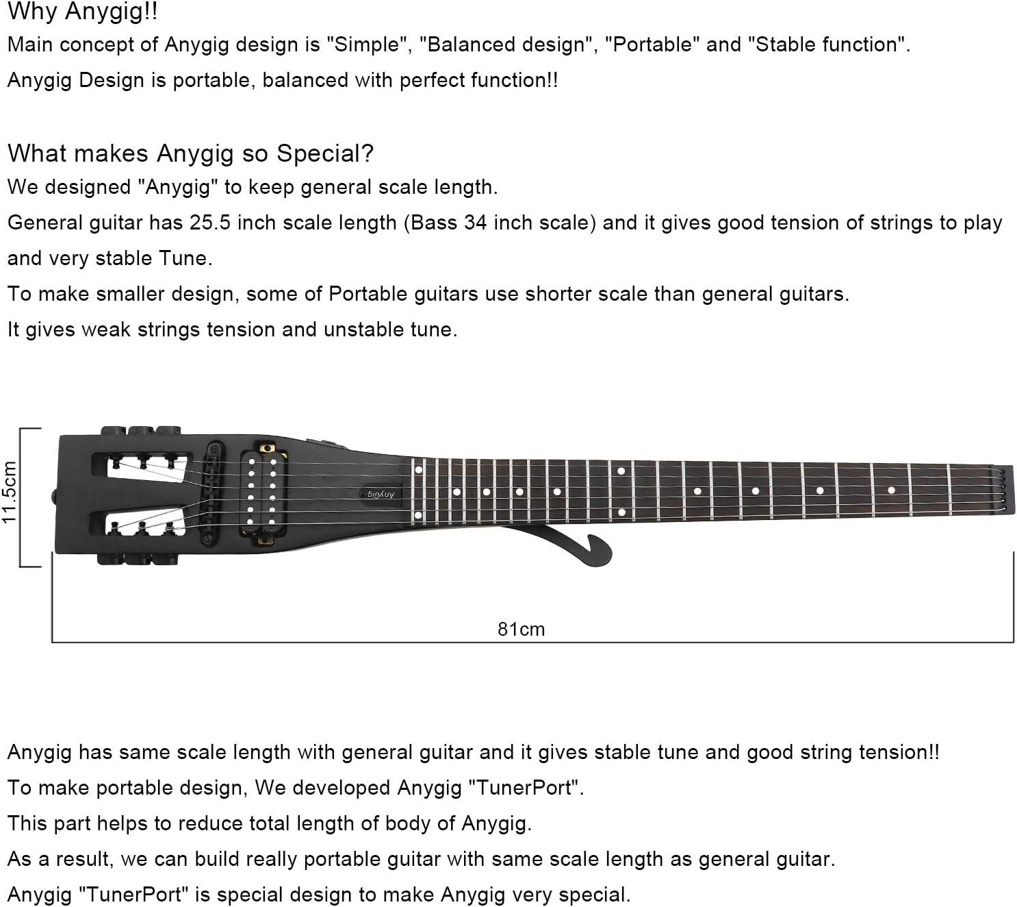 Anygig AGESE Guitarra eléctrica Tipo U de Arce Duro para Viajero ...