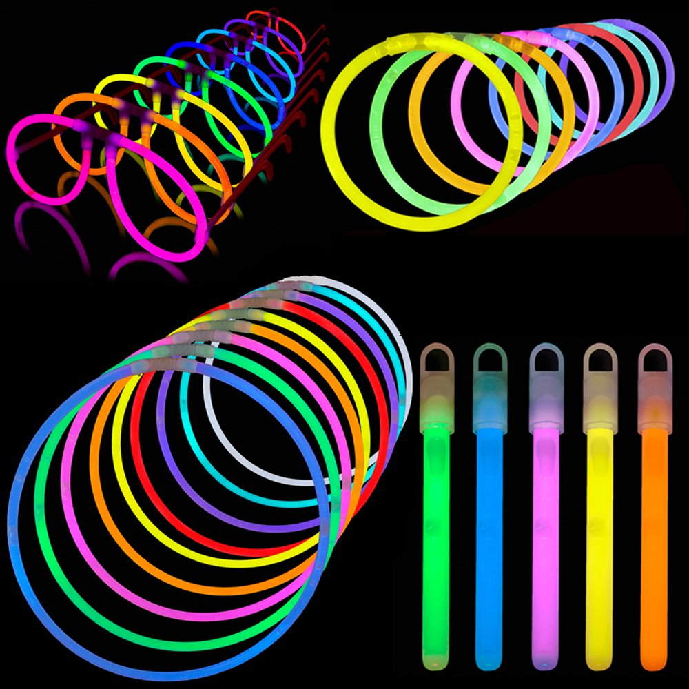Lumistick Glow Sticks Variety Pack of Glowing Party Favors Includes Necklaces, Bracelets and Glasses (Assorted, 200 Packs)