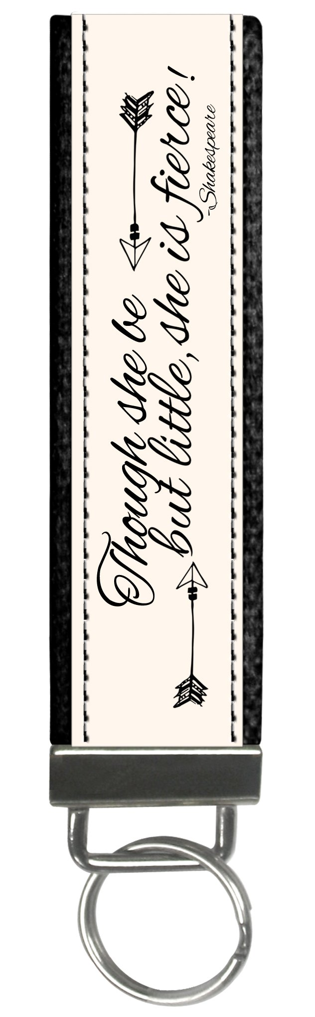 Snaptotes Trendy Motivational Shakespeare Though She May Be Little Wristlet Keychain