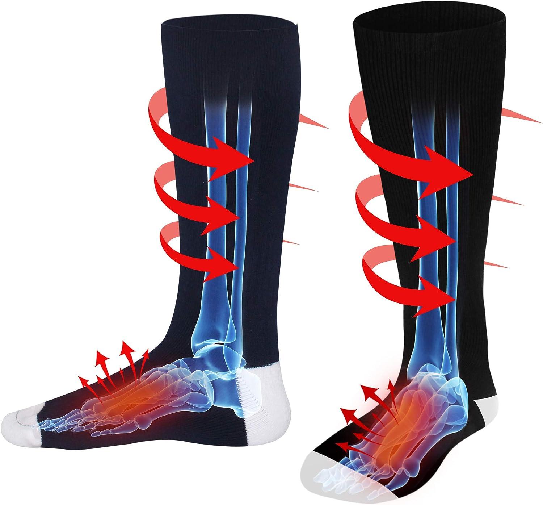 Electric Battery Heated Socks for Women Men,Winter Rechargeable Thermal Heat Socks Kit,Battery Powered Electric Heated Ski Bike Motorcycle Warm Socks Foot Warmer,Winter Sports Outdoor Thermo Socks,M/L