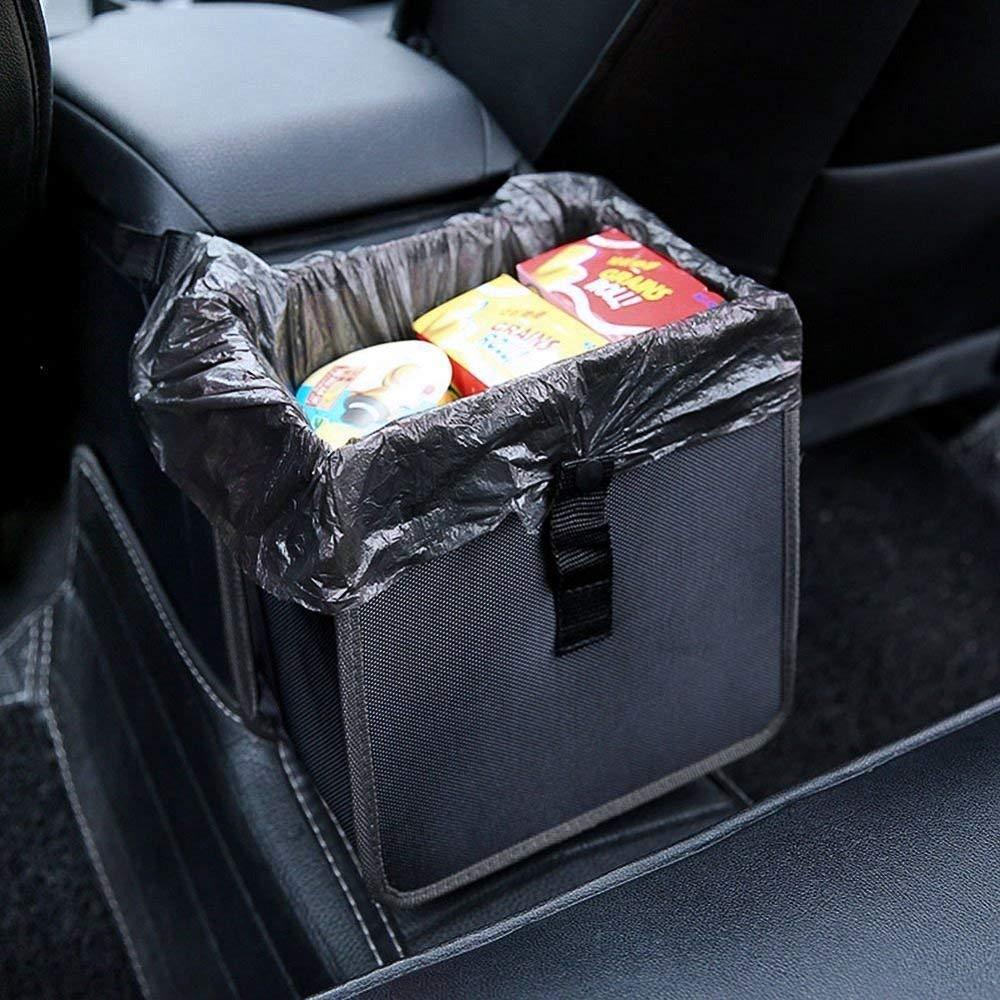 Auto Mülleimer mit Deckel, PowerTiger Kfz Abfallbehälter Wasserdicht Abfalleimer Faltbar Abfalltasche mit 3 Netztasche, 10L Kapazität 10L Kapazität Jiujiu