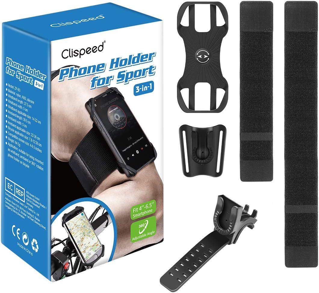 Clispeed Fitness Handyhalterung Armband Mit 360 Drehbar Fahrrad Handyhalter Für Sports Laufen Kompatibel Mit Alle 4 6 5 Zoll Smartphones Sport Freizeit