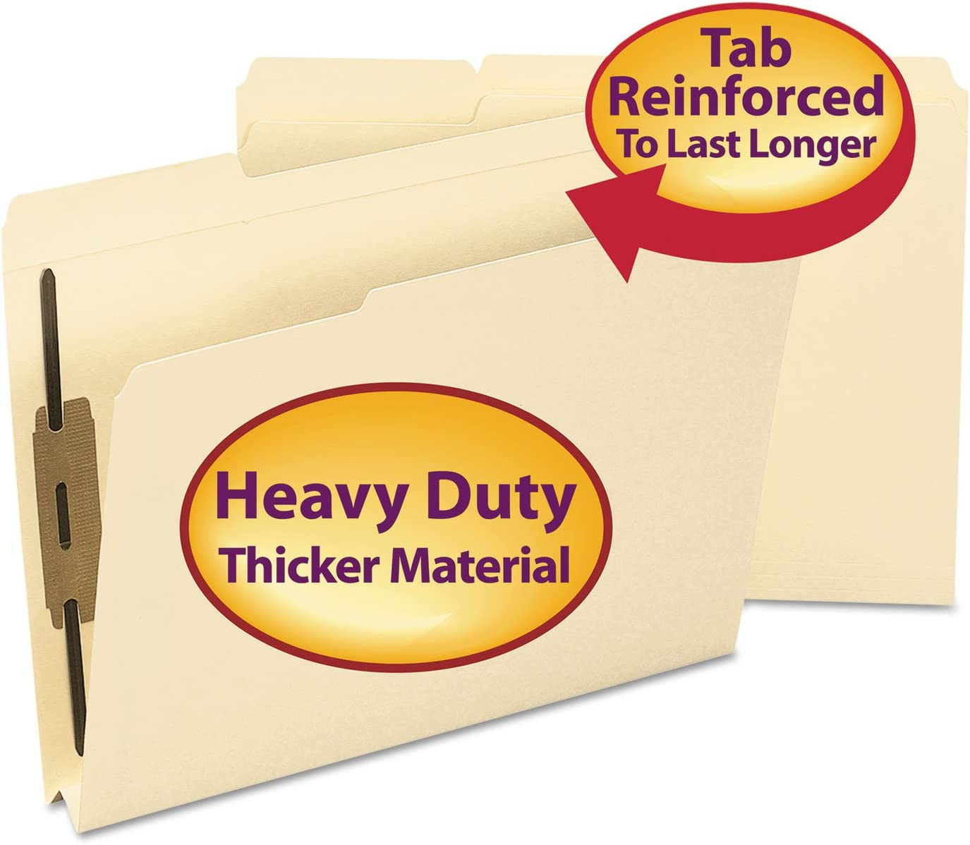 2 Fasteners Smead Fastener File Folder Reinforced 1//3-Cut Tab 1-1//2 Expansion Manila Letter Size 14595 50 per Box