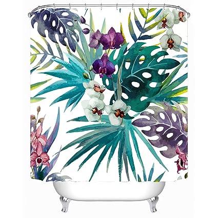 Cheerhunting Palm Leaf Decor Shower Curtain Tropical With Flowers Fabric Bathroom