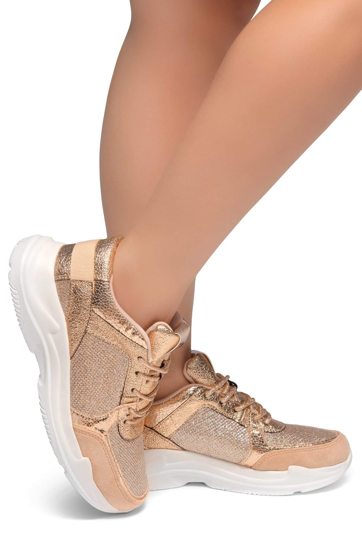 Herstyle Speedie- Front Lace Up, Spec Glitter Contrast Chic Style Sneakers Rose Gold/White 7.5