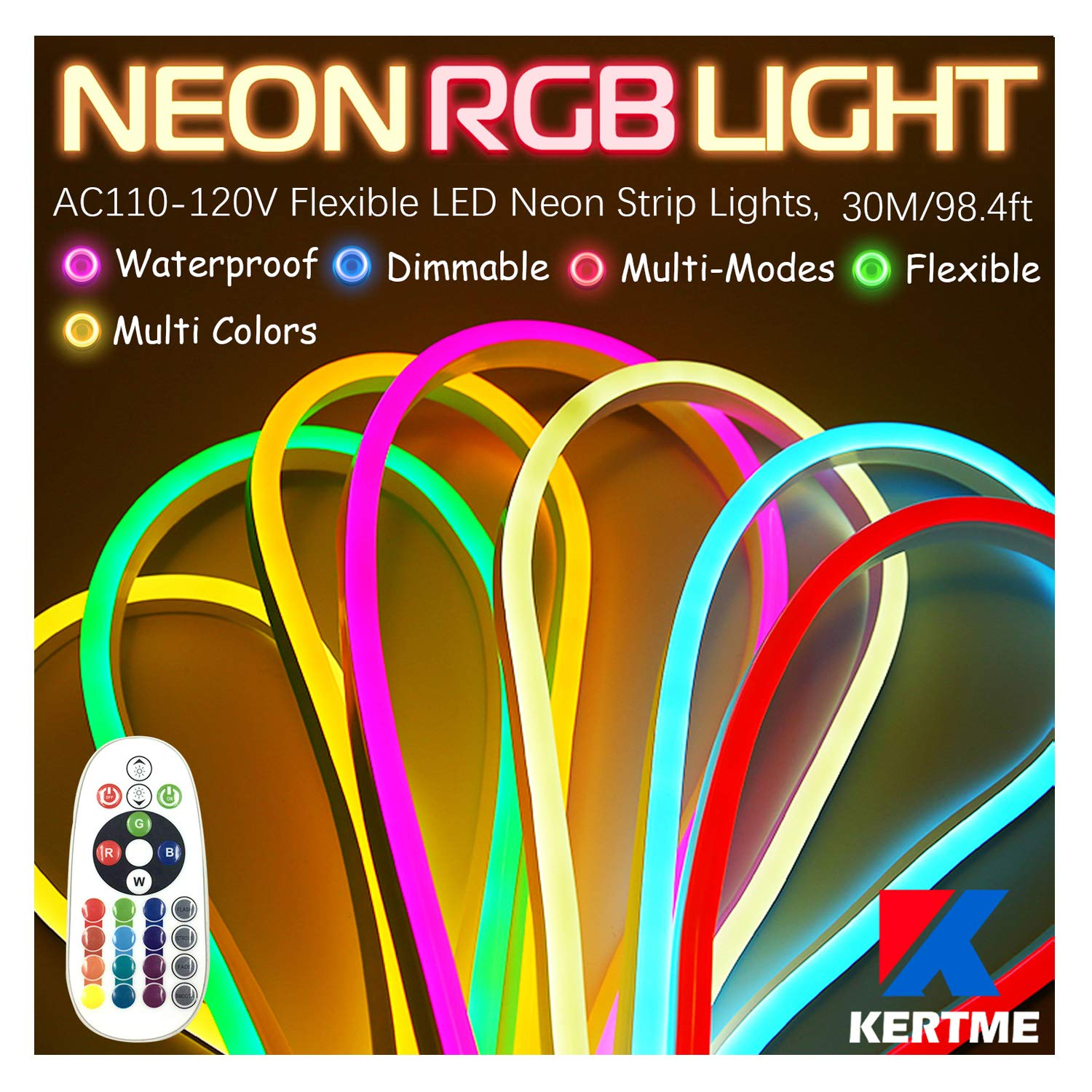 KERTME Neon Led Type AC 110-120V LED NEON Light Strip, Flexible/Waterproof/Dimmable/Multi-Colors/Multi-Modes LED Rope Light + 24 Keys Remote for Home/Garden/Building Decoration (98.4ft/30m, RGB)