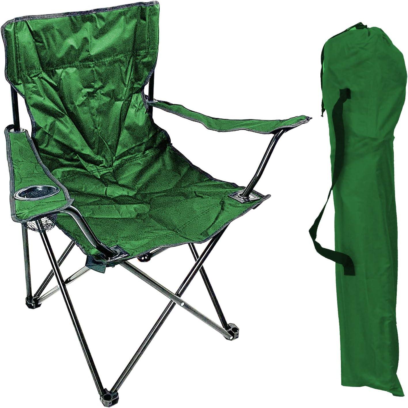 Pesca Sill/ón Silla de camping silla plegable Pesca Silla de director/ /Silla verde con soporte para bebidas y funda