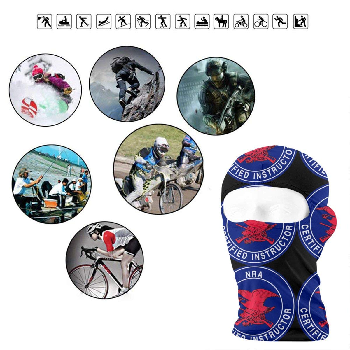 NRA Certified Instructor Full Face Mask Hood,Outdoor Cycling Ski Motorcycle Balaclava Mask Sunscreen Hat Windproof Cap