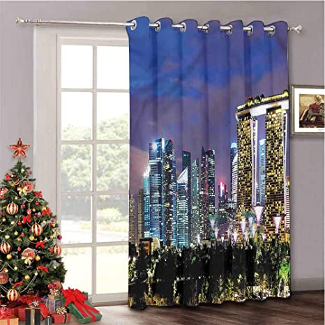 Amazon Com Aishare Store Total Shade Patio Door Curtain Travel Singapore City Vertical Blinds For Dining Room W52 X L84 Inch 1 Panel Home Kitchen