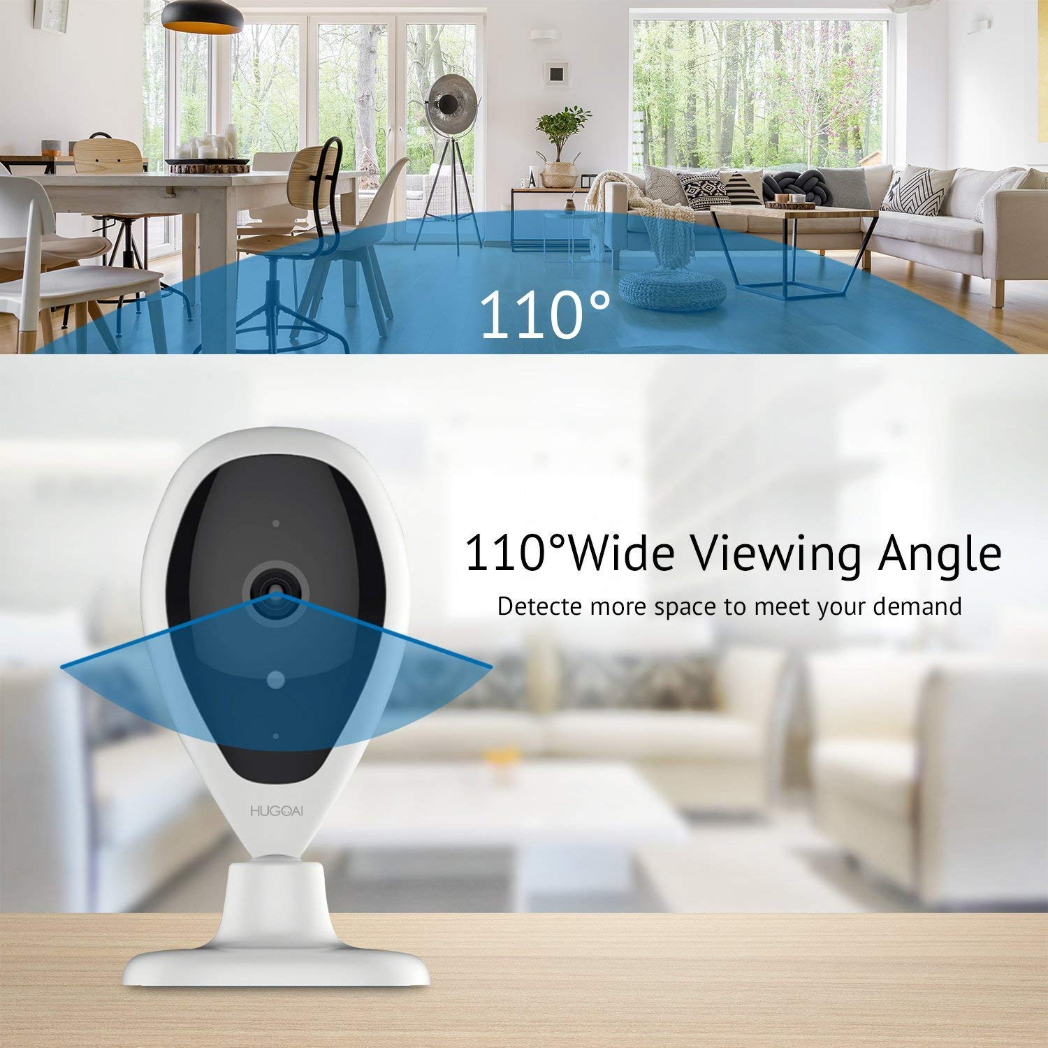 Security IP Camera, HUGOAI WiFi 1080P HD Wireless Home Security  Surveillance Camera with Face Detection, Motion Detection,Night Vision, Two  Way Audio,