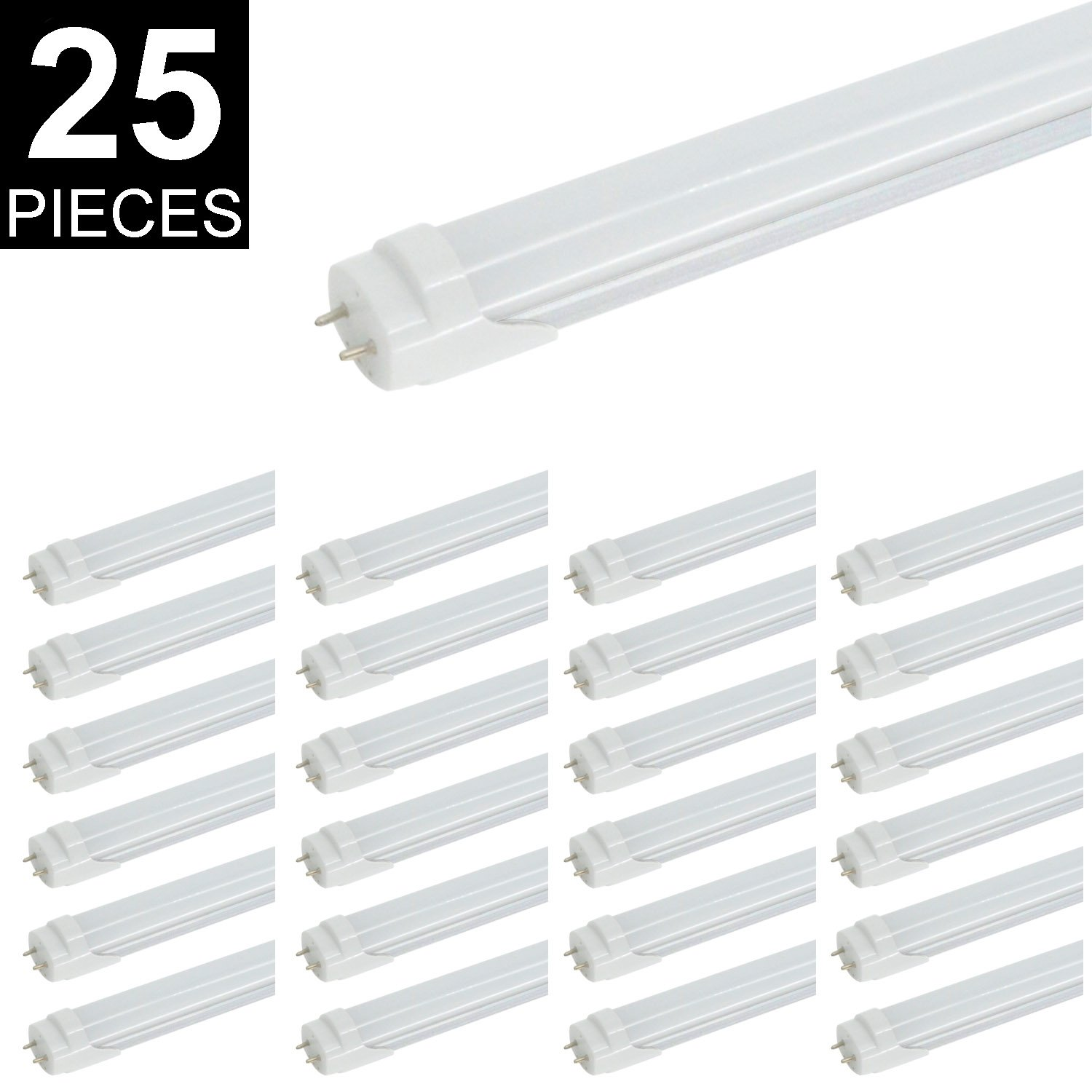 CNSUNWAY T8 LED Light Tube, 4FT, 22W (45W Fluorescent Replacement), 6000K (Cool White), 2310LM, Frosted Cover, Dual-End Powered, Two Pin G13 Bulbs, Works Without Ballast(Frosted Cover, 25)