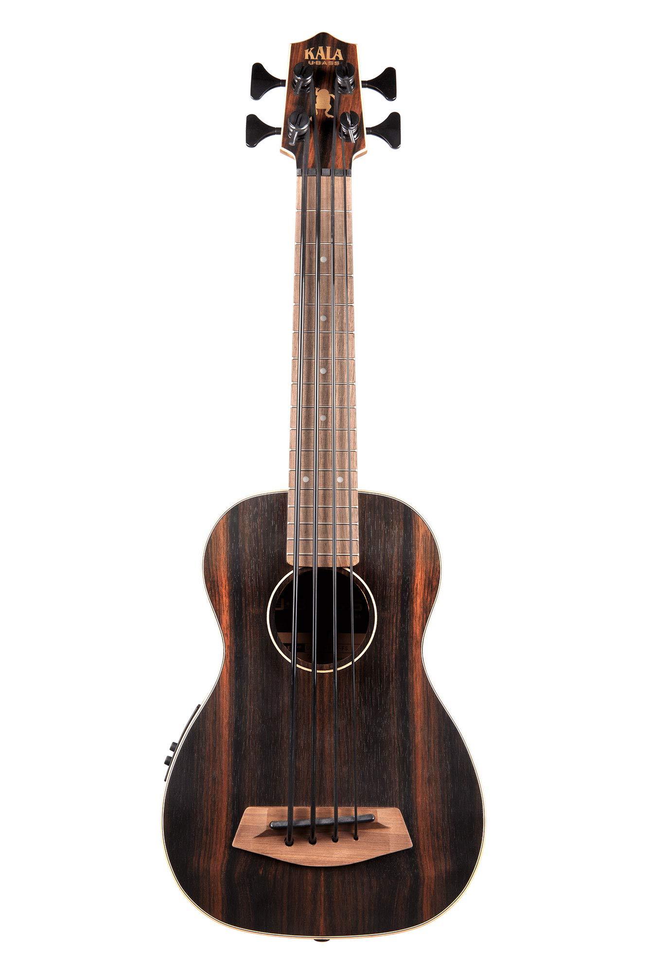 Kala UBASS EBY FS Acoustic Electric Bass Striped Ebony Fretted w Bag, Natural
