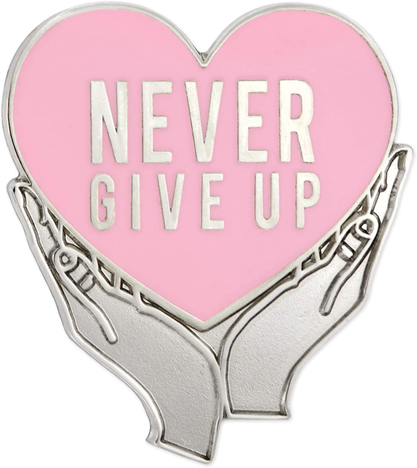 PinMart Never Give Up Pink Breast Cancer Awareness Heart Enamel Lapel Pin