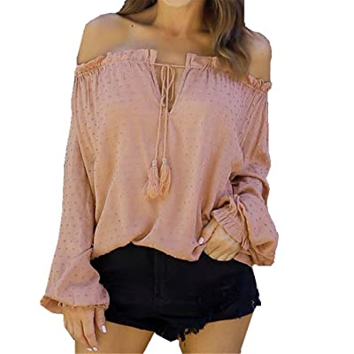 Henraly Workout-and-training-shirts Autumn Women Blouse Off Shoulder Long Sleeve Flesh Pink Chiffon Shirt Ladies Lantern Sleeve Bandage Ruffles Neck Blouse Top