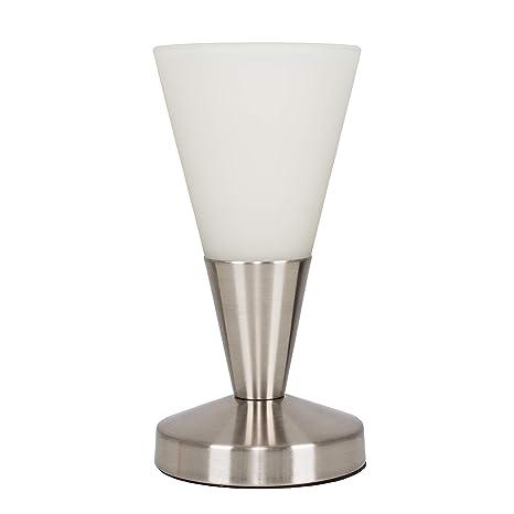 MiniSun - Lámpara de mesa táctil Flamme Blanche - Moderna, forma cónica, con acabado en níquel y cristal blanco satinado [Clase de eficiencia ...