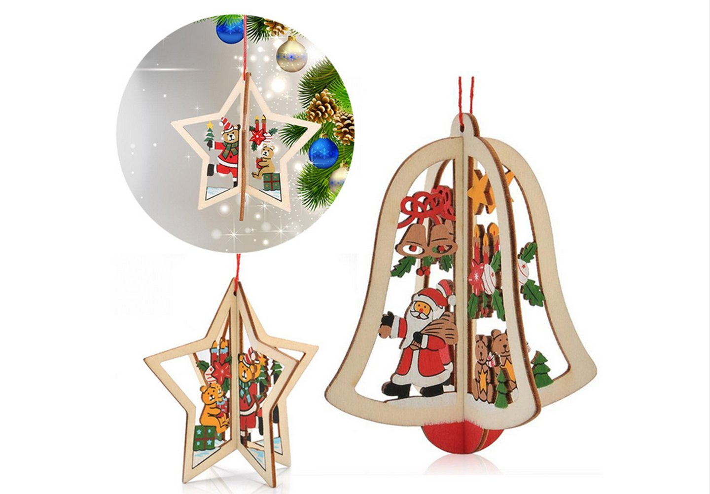 christmas decorations sale party decorations to make Hirolan 10pcs embellishments crafts christmas tree hanging ornament christmas tree xmas decorations christmas gift Bell