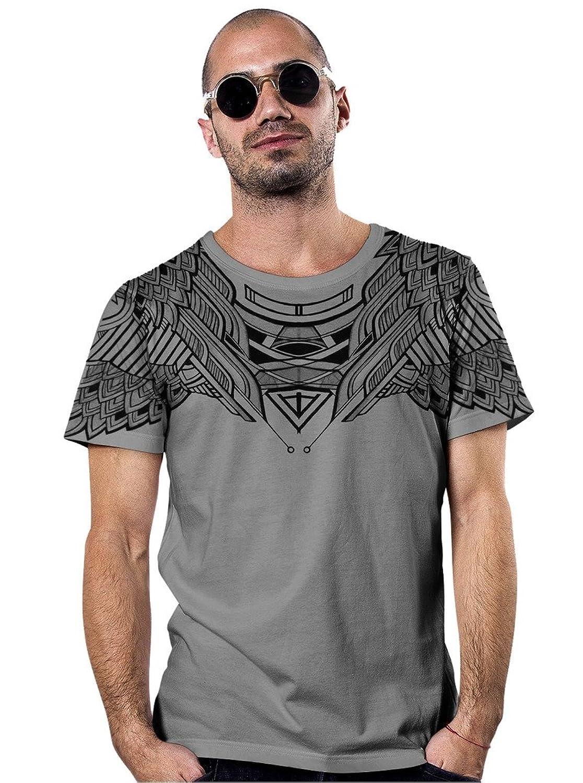 Men's Printed T-Shirt - Exclusive Street Art Owl Design - Crew Neck Cotton Top