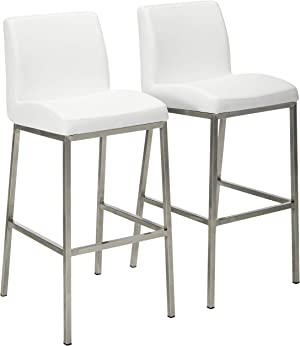 Christopher Knight Home Vasos Leather Barstools, 2-Pcs Set, White