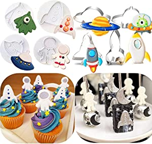 JeVenis Set of 12 Space Cake Mold Space Cookie Cutter Rocket Mold Astronaut Cookie Cutter for Outer Space Baby Shower Cake Decoration Space Birthday Cupcake Decoration