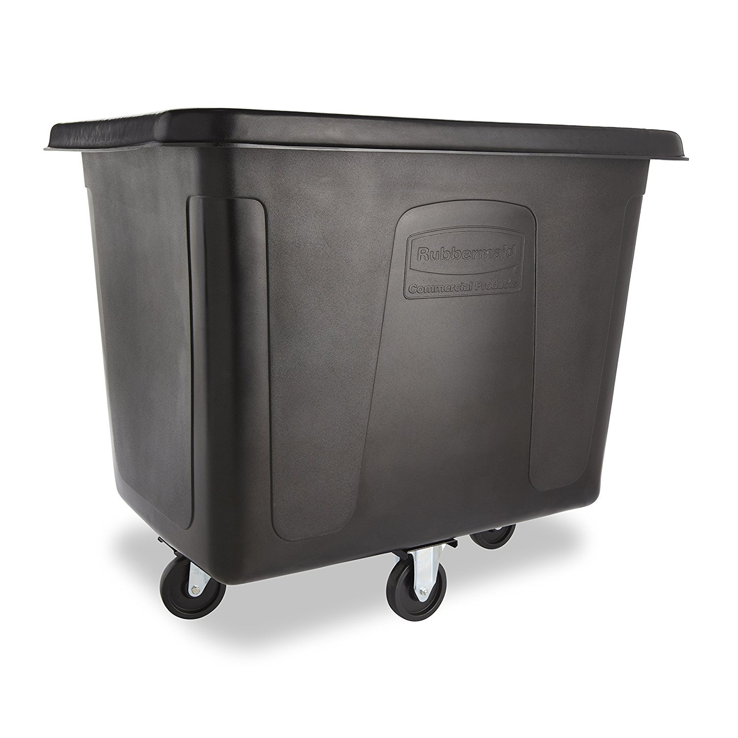 Rubbermaid Commercial MDPE 102.9-Gallon Laundry and Waste Collection Cube Truck, Rectangular, 31-Inch Width x 43-3/4-Inch Depth x 37-Inch Height, Black (FG461600BLA)