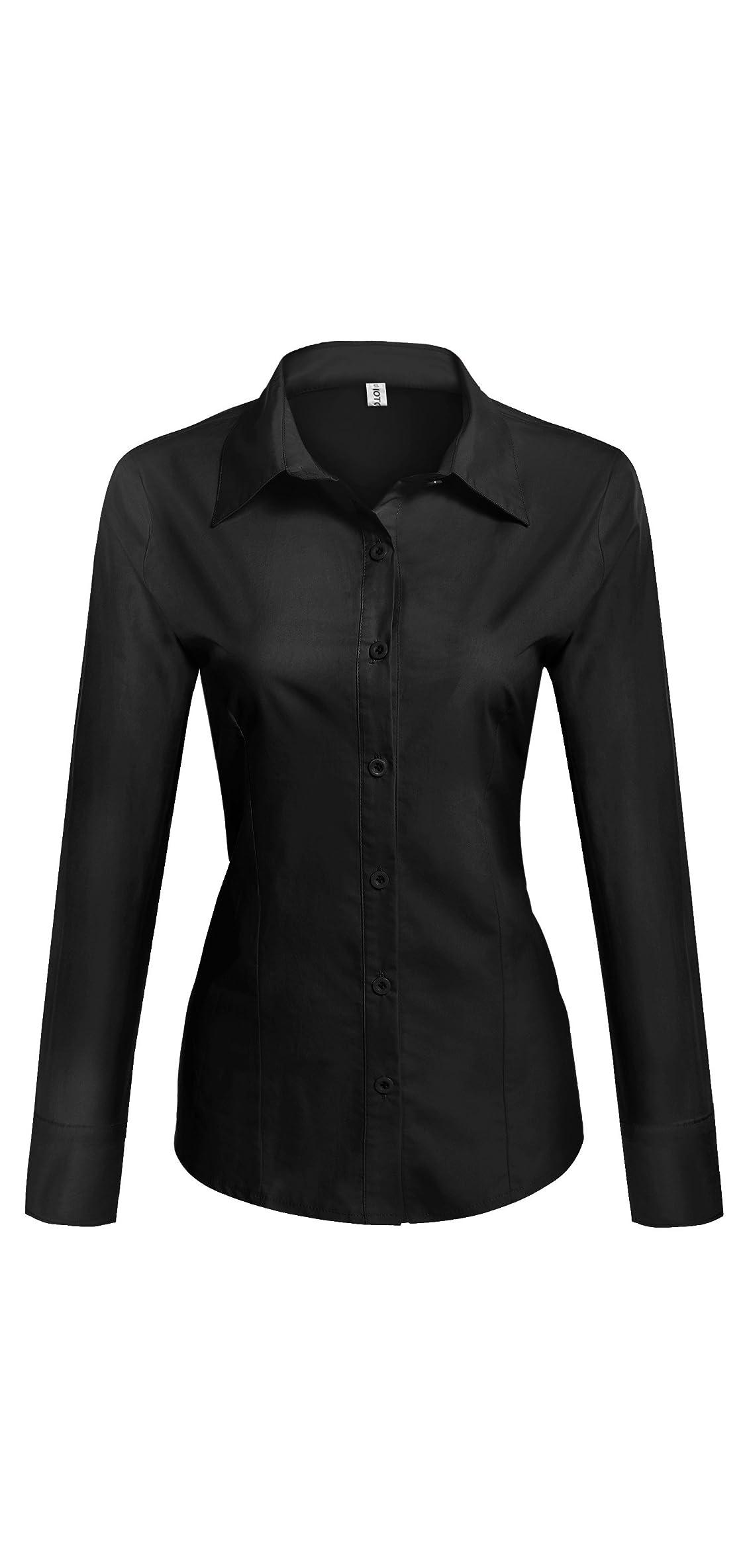 Womens Cotton Basic Simple Button Down Shirt Slim Fit