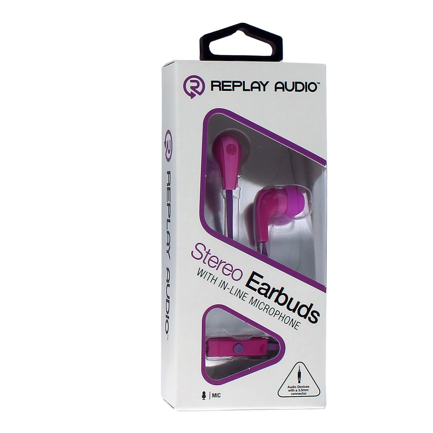 076daf593fc Replay Audio In-Ear Stereo Earbuds RPA-SHF2 With In-Line Mic & Remote Flat  Cord (Purple): Amazon.ca: Cell Phones & Accessories