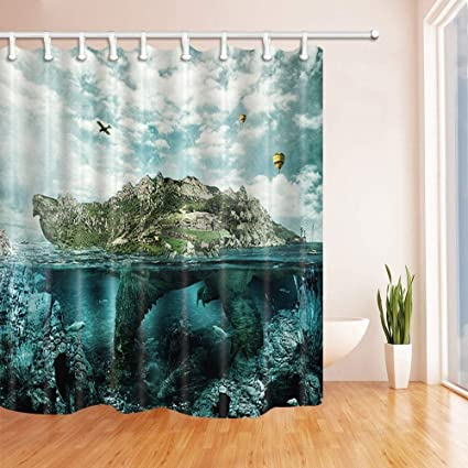 Island Shower Curtains Huge Turtle In Ocean Overgrown Forests And Mountains Polyester Fabric Waterproof
