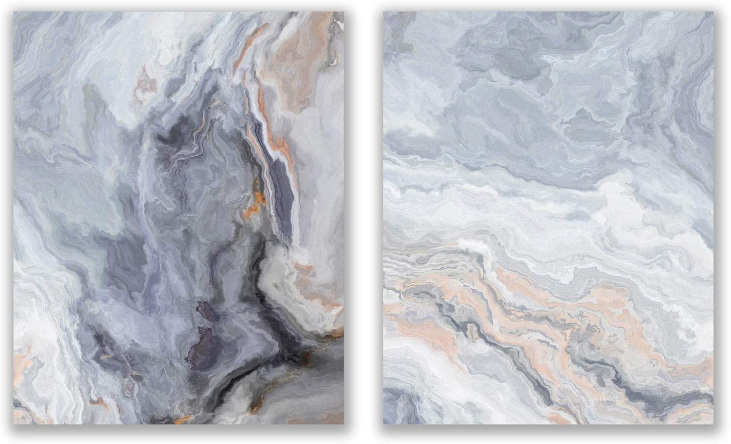 Dark Grey Agate Prints - Set of 2 (8x10) Glossy Modern Abstract Geode Gold Marble Wall Art Decor