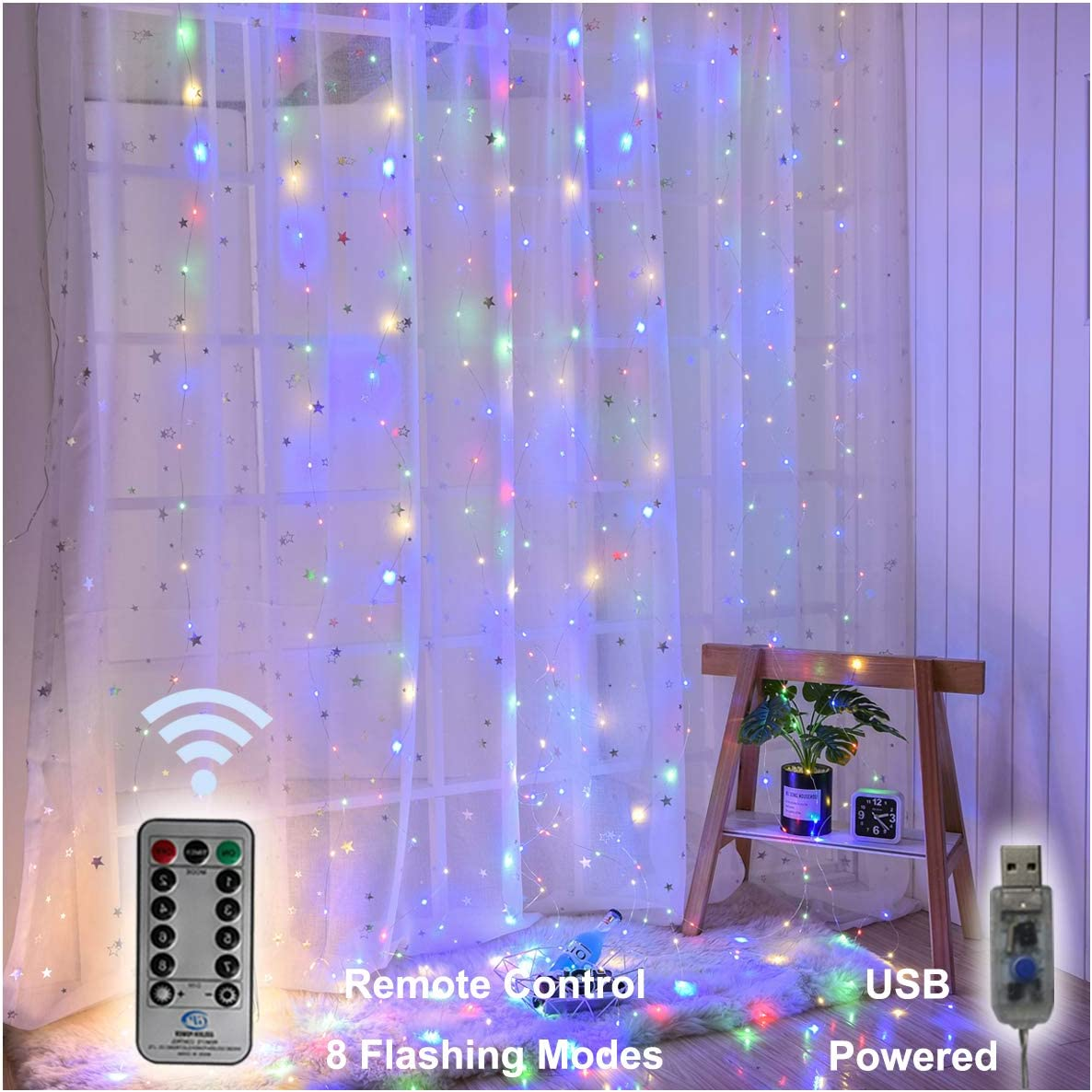 String Lights, 300 LED Window Curtain Twinkle Starry Lights, 8 Lighting Modes, Remote Control for Wedding, Party, Garden, Festival, Holiday Decorations – Multi Color