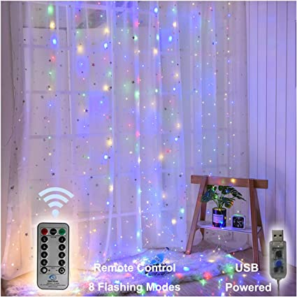3M 300 LED Window Curtain Lights 8 Mode LED String Lights For Party Garden Room