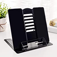 Black IWILCS Metal Book Stand Reading Book Stand Folding Reading Stand Anti-Slip Adjustable Desktop Bookend Cookbook Rest Book Holder for Kitchen Childrens Room Office
