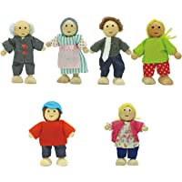 Toydaze Wooden Dollhouse People |Wood Dolls Family with Bendable Arms and Legs, 6-Pack Dollhouse Characters for Pretend Play, Miniature Doll House Doll Figures for Ages 3 and Up Girls, Boys, Kids