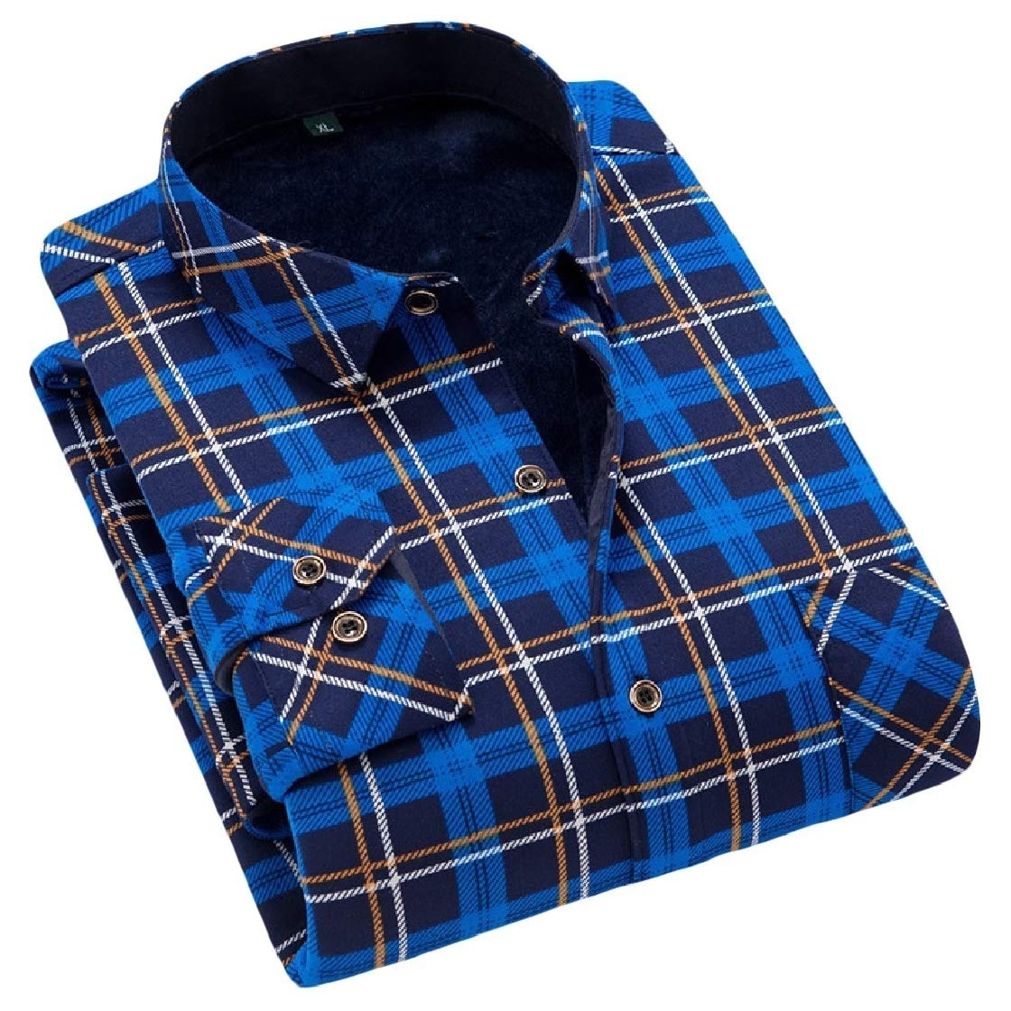 YUNY Mens Thicken Open Front Trim-Fit Turn Down Collar Printed Warm Western Shirt AS17 XL
