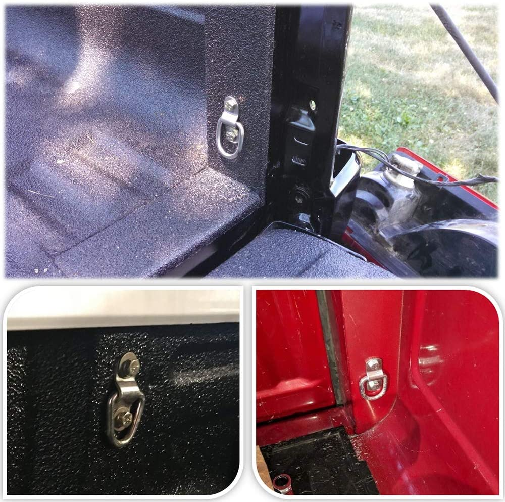 D Rings Tie Down Anchors Hooks for Trailer Truck Bed Bracket Enclosed Points Pickup Camper Surface Mount D-Ring 1//4 Heavy Duty 6 Pack w// 7200 Pound Capacity