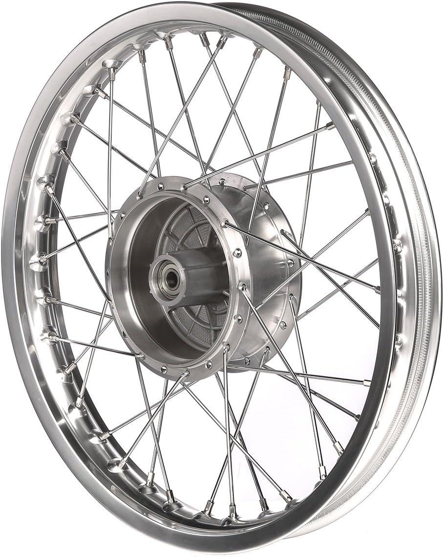 AKF Tuning-Speichenrad 1,5 x 16 Alufelge poliert S50 Edelstahlspeichen KR51 Schwalbe f/ür Simson S51 SR4