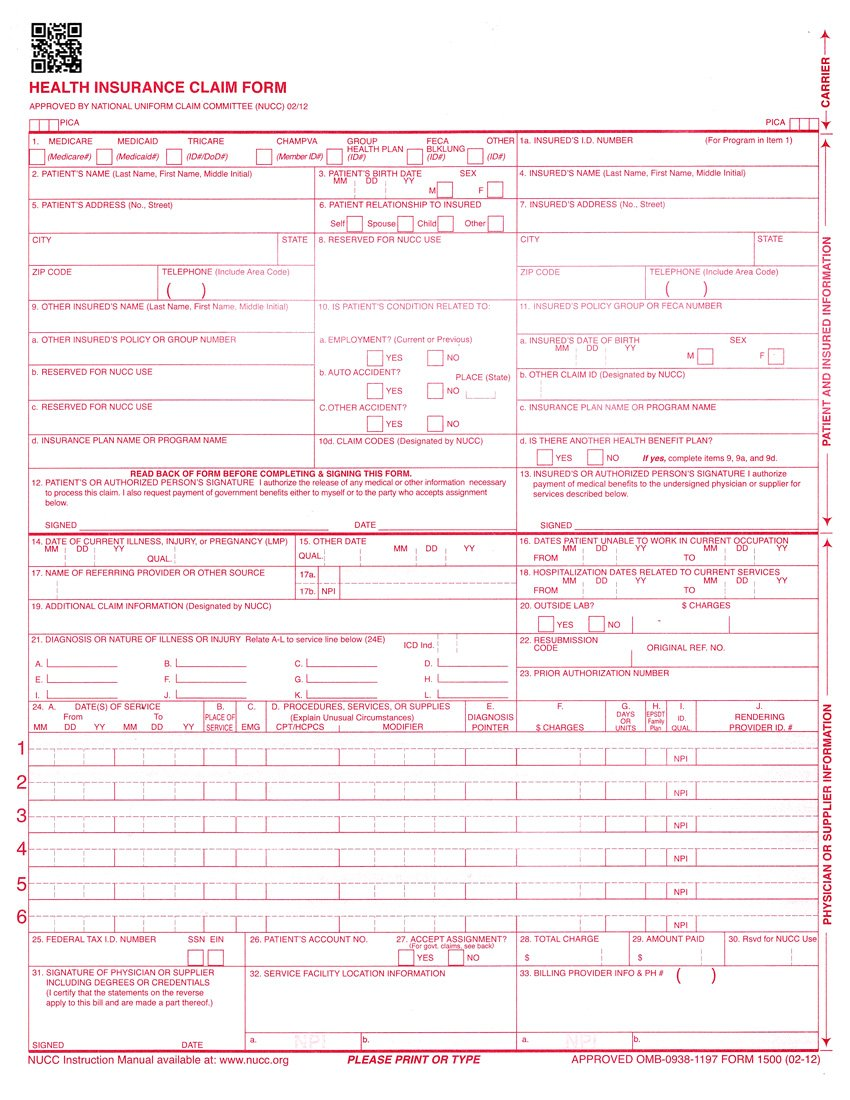 NEW CMS 1500 Claim Forms - HCFA (Version 02/12) 250 per Ream