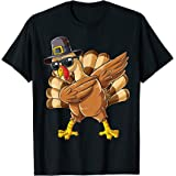 Dabbing Turkey Thanksgiving Day Gifts Pilgrim Boys Kids Men T-Shirt