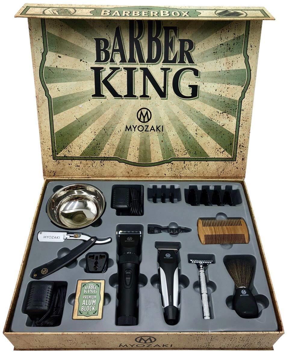 Barber Box Kit - including 9 items: Hair Clipper(4 Combs) Hair Trimmer(3 Combs) Straight Razor, Shaving Bowl, Vintage Safety Razor, Shaving Brush, Alum Block, Beard Comb, Travel Adapter by MYOZAKI