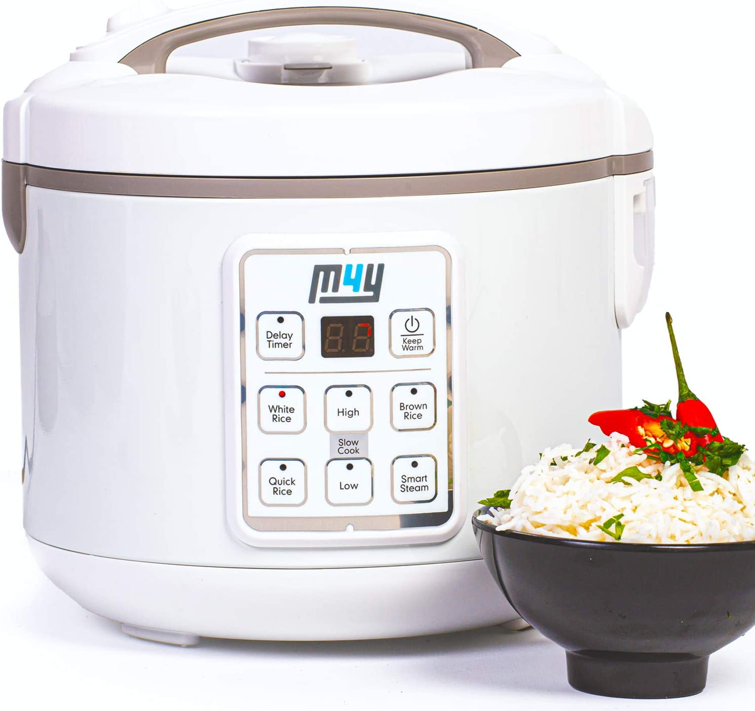 M4Y Rice Cooker, Slow Cooker and Food Steamer – 1.8 Litre - Keep Warm Function, Delay Timer, Premium Inner Pot, Spatula & Measuring Cup, Perfect Rice Every time– Quick & Easy, 8 Different Functions