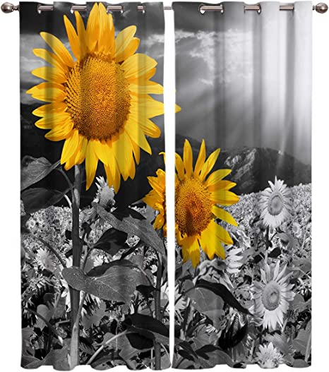 Amazon Com Simigree Thermal Insulated Grommet Curtains For Bedroom Living Room Sunflower Field All Black With A Single Yellow Flower Drapes Home Decor Window Treatment Set 2 Panels 40 X 63 Inch