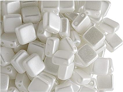 CHOOSE COLOR 40pcs 6x6x2.9mm 2-hole Tile Flat Square Beads Czech Pressed Glass